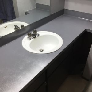 Final bathroom countertops painted